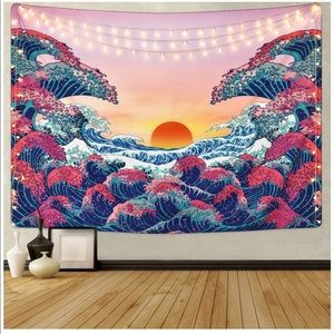 ocean wave tapestry never used